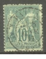 "FRANCE STAMP TIMBRE N° 76 "" SAGE 10c VERT TYPE II "" OBLITERE TB"
