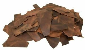6 LB Scraps Tooling Crafts 100% Cowhide Full Grain Leather 5/6oz (2.0mm) Brown