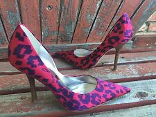*HoT PiNK saTiN Sz 7 Floral Purple Pointy Toe CARRIE Stiletto Heel PUMPs GuESS