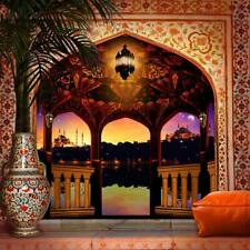 5X7FT Floor arabian palace night column light palm tree backdrop  background