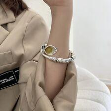 Bracelet Bangle Vintage 925 Sterling Silver Jade Serpentine Pattern Adjustable