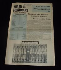 April 25, 1969 ABA Playoff Program-Indiana Pacers @ Miami Floridians