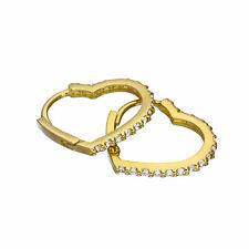Heart-Shaped Hinged Huggie Hoops Valentines 9ct Gold & Clear Cz Crystal
