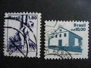 Brazil 2 used stamps each with a double impression print error!