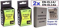 2 Pcs Hi Capacity EN-EL14a Li-Ion Battery for Nikon Coolpix P7800 P7700