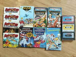 Vintage Cassette Tape & Books Bundle Super Ted Ghostbusters He-man MASK Ladybird