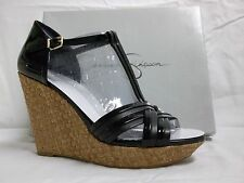 Jessica Simpson Size 10.5 M Calista Leather Black Wedges New Womens Shoes