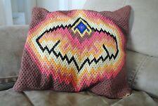 Hand Made Bargello Throw Pillow in style of Jonathan Adler Crochet Needlepoint