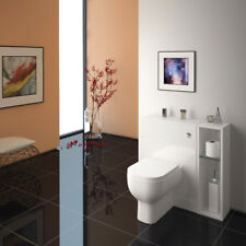 Bagno guardaroba 800 mm PATELLO Back to Wall portaoggetti Bianco con WC-Out