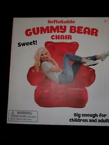 RED GUMMY BEAR INFLATABLE CHAIR NEW 38 X 33 X 26 inches. FREE SHIPPING!