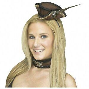 Adult Women's Pirate Brown Mini Hat Headband Choker Halloween Costume Accessory