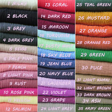 35 Colors! Solid Crinkle Head Scarf Shawl Frayed Edges Muslim Skin Hijab Turban