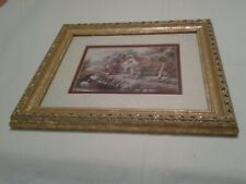 Vintage Country Cottage Flowers With Swan in Beautiful Frame, by J.C. Penney
