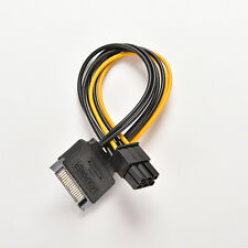 SATA 15 Pin Male to 6 Pin PCI-Express PCI-E Card Power Adapter Cable 20cm BDAU