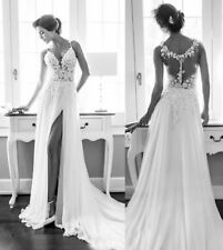 2019 Backless Chiffon Lace Beach Bridal Gowns Slit Bohemian Wedding Dresses Hot