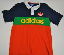 ADIDAS Originals COLORBLOCK Polo Shirt Collegiate ORANGE Large Spell Out Rugby