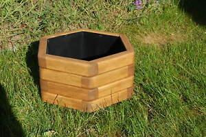 Holz Blumenkasten, Pflanzkasten sechseckig  geölt in Teak Gr.2/4