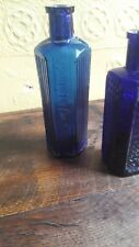 2 Antique 2oz Lewis & Tower Flat Backed Blue Glass Poison Bottle.1 other hexogan