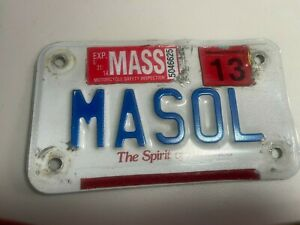 "1999 Blue On White Massachusetts Motorcycle License Plate Mass ""MASOL"""