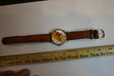 Timex Winnie the Pooh Wristwatch with Leather Strap RUNS! New Battery ! JSH