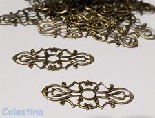 10 Bronze Tone Filigree Wraps Connectors Embellishments Findings 38x15mm