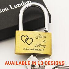 Personalised Engraved Padlock Love Lock Wedding Anniversary Gift with Free Box