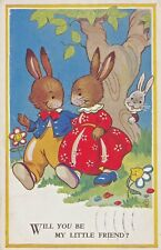 """VINTAGE 1947 POSTCARD - BUNNY RABBITS.""""WILL YOU BE MY LITTLE FRIEND?"""""""