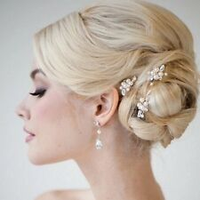Three Crystal And Pearl Wedding Bridal Hair Pin Vintage Statement Side Comb Vine