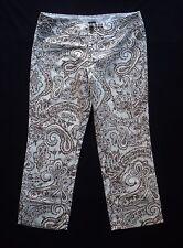 GAP Womens sz 10 Stretch Brown Paisley Print Ivory Crop Pants Capris Skinny Fit
