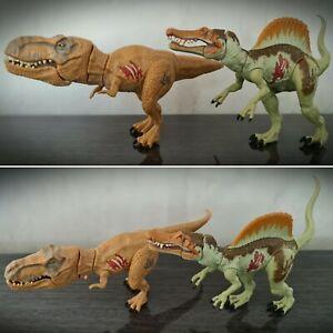 Jurassic World Biters & Bashers Spinosaurus T-Rex Dino Action Figure Set Hasbro