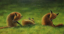 Foxes Cleaning, Oil Painting Original, Fox Lovers, Animal Artwork, Art by AJ