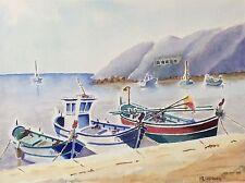 Grande aquarelle Provence Marseille Port de l' Estaque bateau signé M. Cobourg