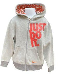 New NIKE Vintage Just Do It Unisex Hoodie Jacket Grey 140-152 cm Age 10-12 Years