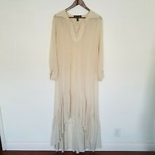 Anthropologie Winter Kate Ivory Jazbaa Silk Hi-Low Maxi DressWomens Size Large