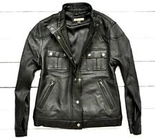HERZ MODEN Ladies Real Leather Bomber Biker Black Jacket Womens Large 14 UK 40EU