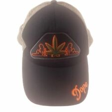 Dope Leaf Mesh Trucker Snapback Hat Black Silver Embroidered