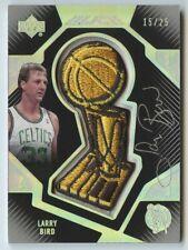 Larry Bird 2007 08 UD Black Finals Trophy Patch Celtics Auto Autograph 15/25