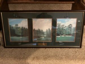 Framed Amen Corner golf print collage Augusta MASTERS - horizontal layout