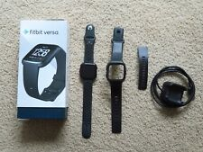 Fitbit Versa Smart Watch Black/Black Aluminum with Extra Bands