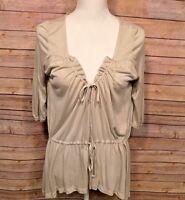 Women's Banana Republic 3/4 Sleeve Tunic Blouse Top Oversized Gray Size XS
