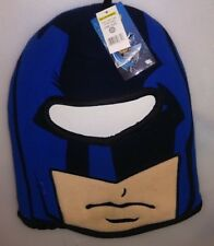 WB DC COMICS KIDS 1 SIZE WINTER HAT FULL FACE PROTECTION BATMAN BLUE BLACK A-22