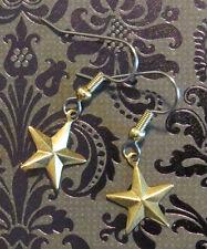 Celestial Star Earrings 24 Karat Gold Plate 5 Pointed Stars