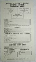 Vintage Knott's Berry Farm Steak House Luncheon Menu