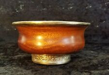 Antique Tibetan Tea Bowl or Cup Wood Silver Lined  w/ Metal Liner