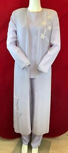 NEW CONDICI Lilac Trouser Suit & Long Jacket.Mother of the Bride/Groom.UK10