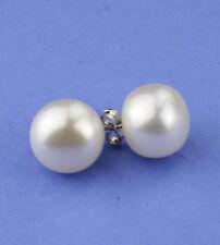 Large 11-12mm pearl ear studs earrings - 14k white gold EAR040038