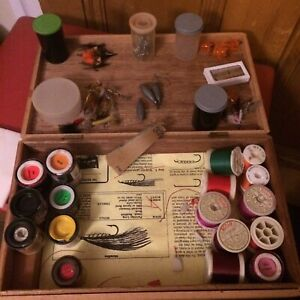 Vintage Fishing Fly Making Set Lots Of Vintage Flies Talbot Thread Instructions