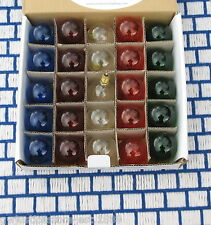 BOX of 25 new CLEAR MIXED COLORS C7 CHRISTMAS G12.5 LIGHT bulb Round Globe 10w