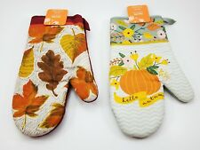 (Lot of 2) Kitchen Oven Mit. Fall Autumn Harvest. Women Owned. Leaves & Pumpkin