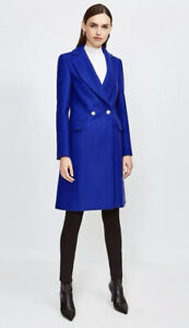 Karen Millen  Blue   Italian Wool Blend Double Breasted Coat Size 16 44EU 12US